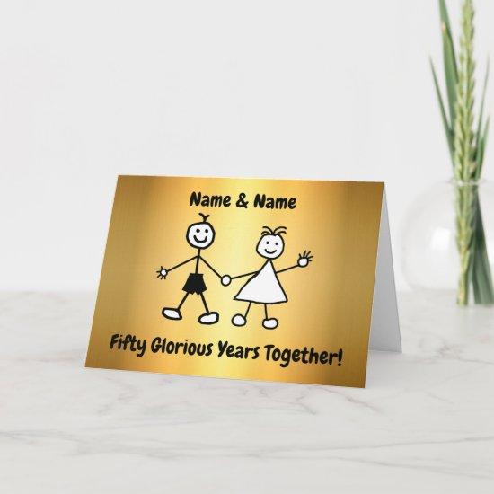 Cute Cartoon Couple Golden Wedding Anniversary Card