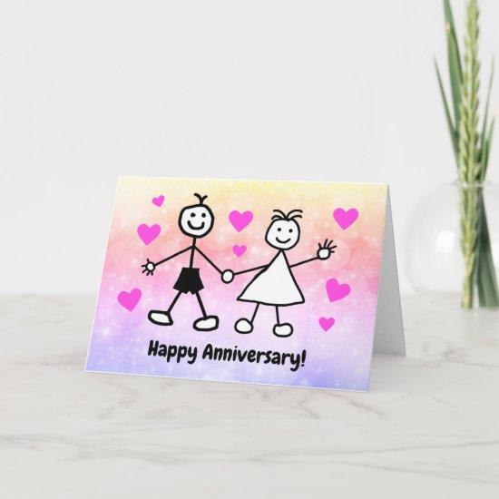Cute Cartoon Couple Happy Anniversary Card