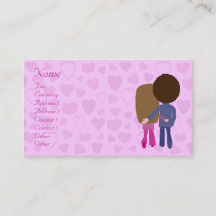 Dating service business cards templates zazzle cute cartoon couple hearts dating service custom business card colourmoves