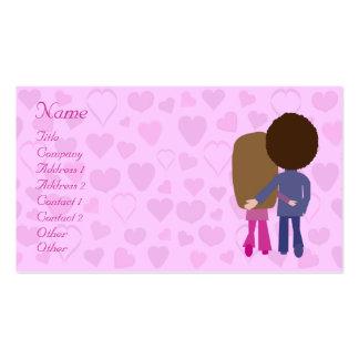 Cute Cartoon Couple & Hearts Dating Service Custom Business Card