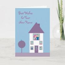 Cute Cartoon Couple & Pets New Home Customizable Card