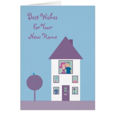 new,or,pet Cute Cartoon Couple & Pets New Home Customizable Card