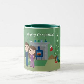 Cute Cartoon Couple & Tree Christmas Mug