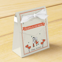 Cute Cartoon Couple Wedding Favor Box