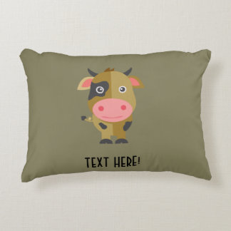 Cute Cartoon Cow Accent Pillow