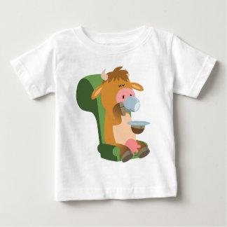 Cute Cartoon Cow and a Nice Cuppa Baby T-Shirt