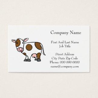 Cute Cartoon Cow Brown and White Business Card