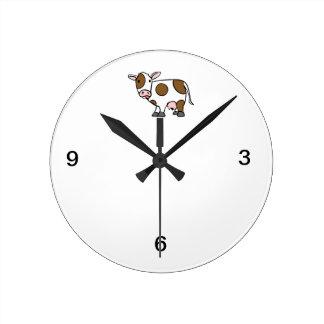 Cute Cartoon Cow Brown and White Round Wallclock