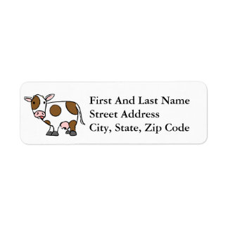 Cute Cartoon Cow Brown and White Label