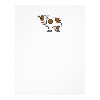 Cute Cartoon Cow Brown and White Letterhead