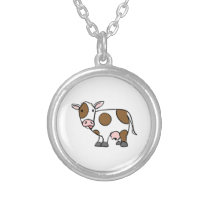 Cute Cartoon Cow Brown and White Silver Plated Necklace