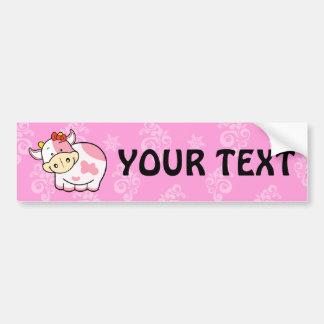Cute Cartoon Cow bumpersticker Pink Bumper Sticker