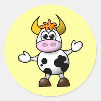 Cute Cartoon Cow Classic Round Sticker