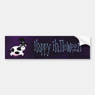 Cute Cartoon Cow Happy Halloween Magical Sky Bumper Sticker