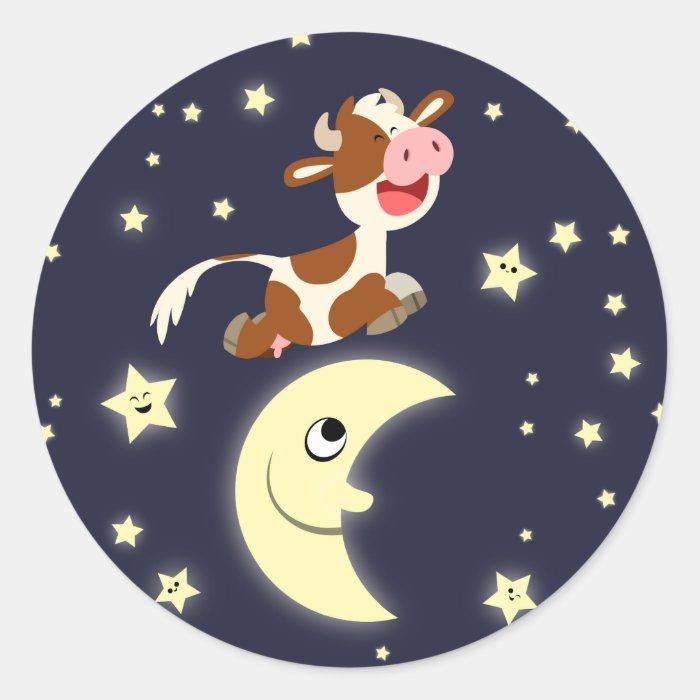 Cute Cartoon Cow Jumping Over The Moon Sticker