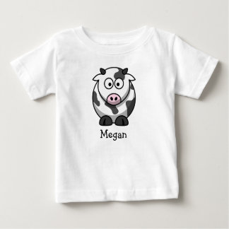 Cute cartoon cow personalized with childs name baby T-Shirt