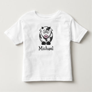 Cute cartoon cow personalized with childs name t-shirt