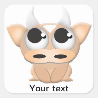 Cute Cartoon Cow Square Sticker