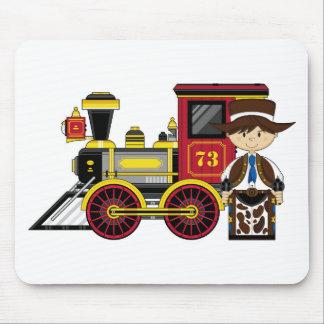 Cute Cartoon Cowboy and Train Mouse Pad