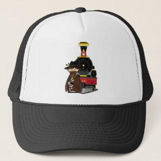 Cute Cartoon Cowboy and Train Trucker Hat