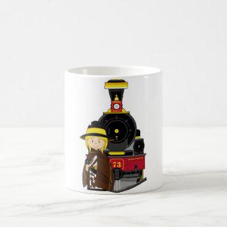 Cute Cartoon Cowgirl Cowboy and Train Coffee Mug