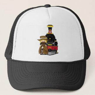 Cute Cartoon Cowgirl Cowboy and Train Trucker Hat