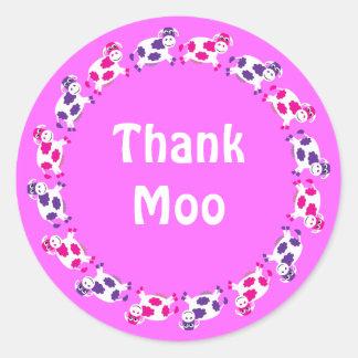 Cute Cartoon Cows Pink Thank Moo (You) Round Sticker