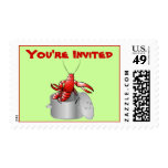 Cute Cartoon Crawfish Boil Party You're Invited Postage Stamp