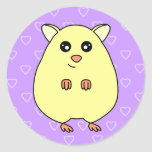 Cute Cartoon Cream Hamster Purple Stickers