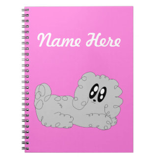 Cute Cartoon Curly Poodle Puppy Dog Spiral Notebook