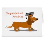 Cute Cartoon Dachshund Dog Graduation Greeting Card