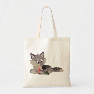 Cute Cartoon Dad Wolf and Pups Bag