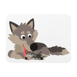 Cute Cartoon Dad Wolf and Pups Flexible Magnet
