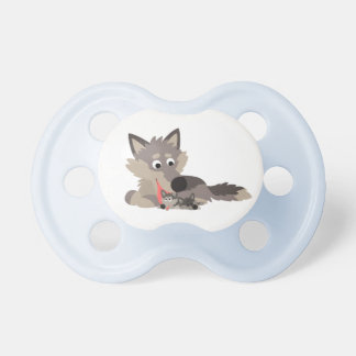 Cute Cartoon Dad Wolf and Pups Pacifier
