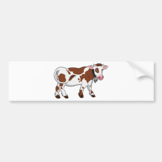 Cute Cartoon Dairy Cow Car Bumper Sticker