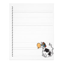 Cute Cartoon Dairy Cow Lined Pet Letterhead