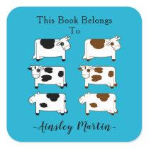 Cute Cartoon Dairy Cows Bookplate