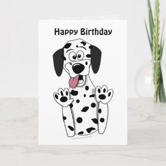 Cute Cartoon Dalmatian Dog Birthday Card Template card