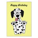 Cute Cartoon Dalmatian Dog Birthday Card Template