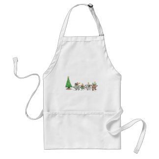 Cute Cartoon Dancing Christmas Presents and Tree Adult Apron