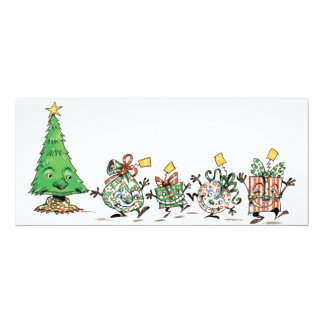 Cute Cartoon Dancing Christmas Presents and Tree Card