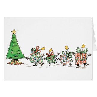 Cute Cartoon Dancing Christmas Presents and Tree Card
