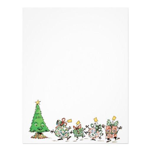 Cute Cartoon Dancing Christmas Presents and Tree Letterhead