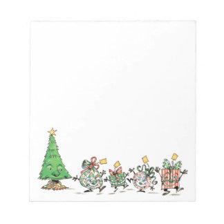 Cute Cartoon Dancing Christmas Presents and Tree Notepad