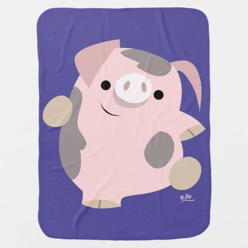 Dancing Babies Cute: Cute Cartoon Dancing Pig Baby Blanket