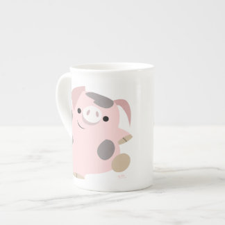 Cute Cartoon Dancing Pig Bone China Mug