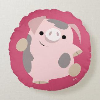 Cute Cartoon Dancing Pig Round Pillow