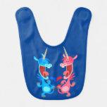 Cute Cartoon Dancing Unicorns Baby Bib