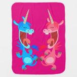 Cute Cartoon Dancing Unicorns Baby Blanket