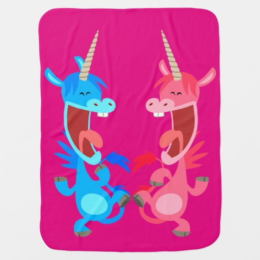 Dancing Babies Cute: Cute Cartoon Dancing Unicorns Baby Blanket
